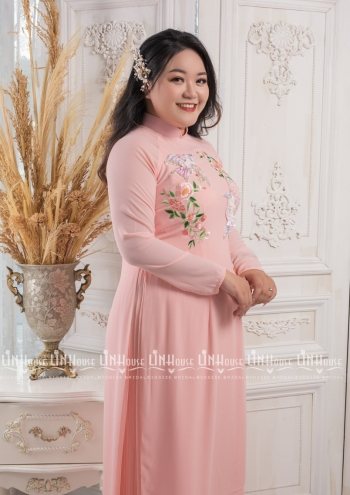 Áo Dài BigSize Hồng Thêu Tay